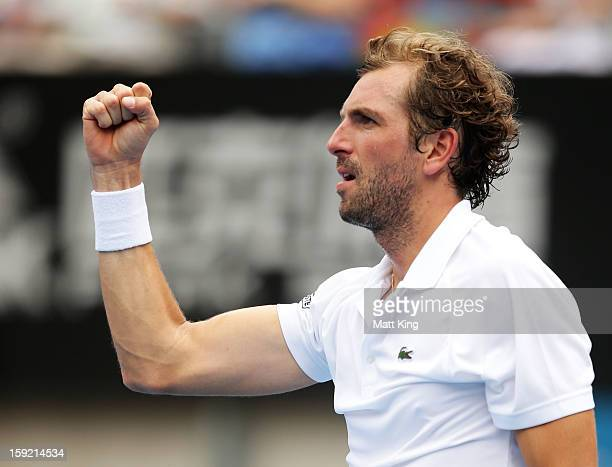 Julien Benneteau of France celebrates winning match point in his quarter final match against Ryan Harrison of USA during day five of the Sydney...