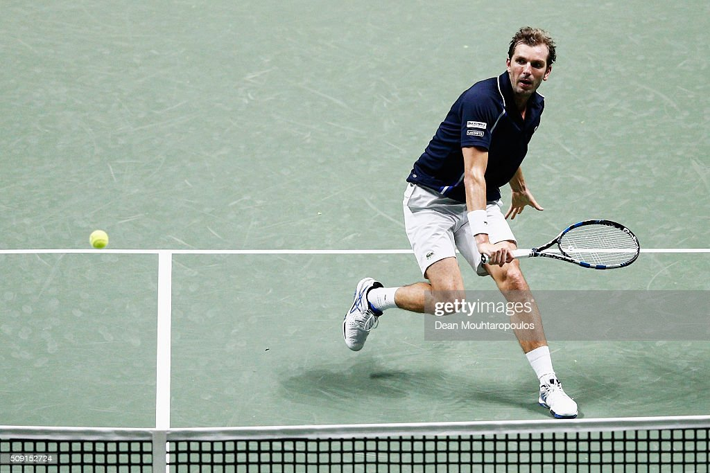 <a gi-track='captionPersonalityLinkClicked' href=/galleries/search?phrase=Julien+Benneteau&family=editorial&specificpeople=228097 ng-click='$event.stopPropagation()'>Julien Benneteau</a> of France in action action against Philipp Kohlschreiber of Germany during day 2 of the ABN AMRO World Tennis Tournament held at Ahoy Rotterdam on February 9, 2016 in Rotterdam, Netherlands.