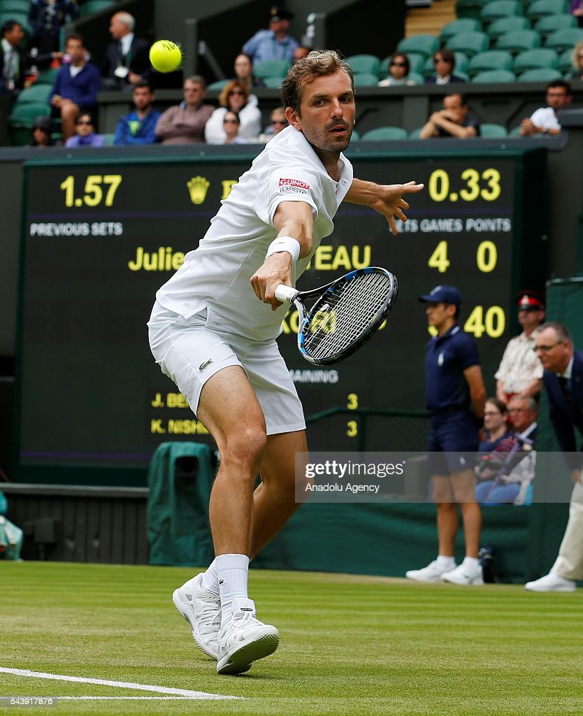 Julien Benneteau of France in action against Kei NIshikori (not seen) of Japan in the men's singles on day four of the 2016 Wimbledon Championships at the All England Lawn and Croquet Club in London, United Kingdom on June 30, 2016.