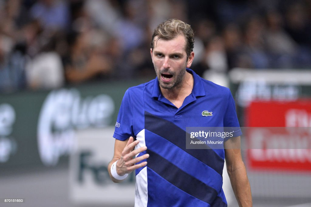 Julien Benneteau of France reacts in the men's singles semi final match against Jack Sock of the United States of America during day six of the Rolex Paris Masters at Palais Omnisports de Bercy on November 4, 2017 in Paris, France.