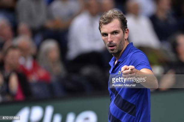 Julien Benneteau of France reacts in the men's singles semi final match against Jack Sock of the United States of America during day six of the Rolex...