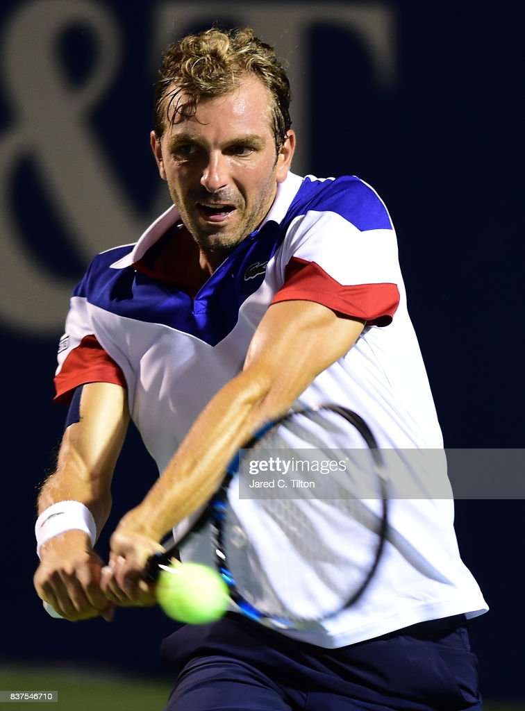 Julien Benneteau of France returns a shot from Pablo Carreno Busta of Spain during the fourth day of the Winston-Salem Open at Wake Forest University on August 22, 2017 in Winston-Salem, North Carolina.