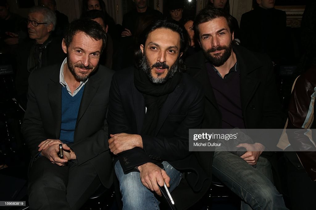 Julien Boisselier, Olivier Sitruk and Gregory Fitoussi attend the Valentino Men Autumn / Winter 2013 show as part of Paris Fashion Week on January 16, 2013 in Paris, France.