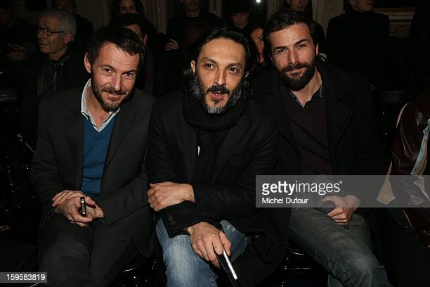 Julien Boisselier Olivier Sitruk and Gregory Fitoussi attend the Valentino Men Autumn / Winter 2013 show as part of Paris Fashion Week on January 16...