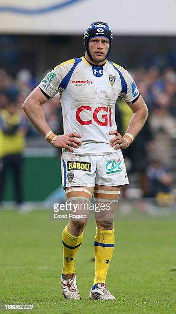 Julien Bonnaire of Clermont Auvergne looks on during the Heineken Cup quarter final match between Clermont Auvergne and Montpellier at Stade Marcel...