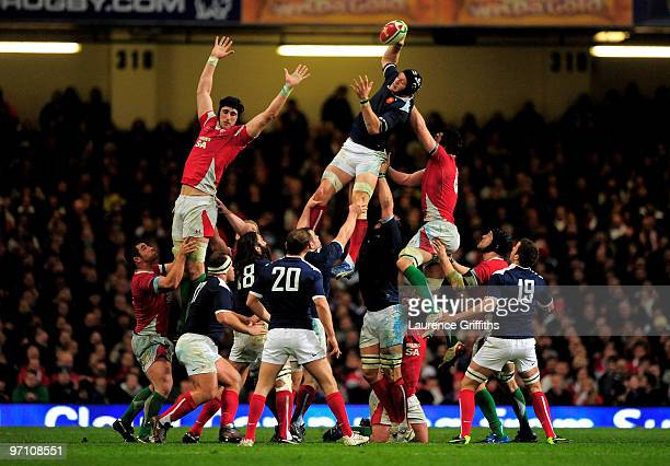 Julien Bonnaire of France rises to claim the ball in a line out during the RBS Six Nations Championship match between Wales and France at the...