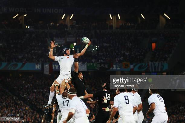 Julien Bonnaire of France wins the line out the ball during the IRB 2011 Rugby World Cup Pool A match between New Zealand and France at Eden Park on...
