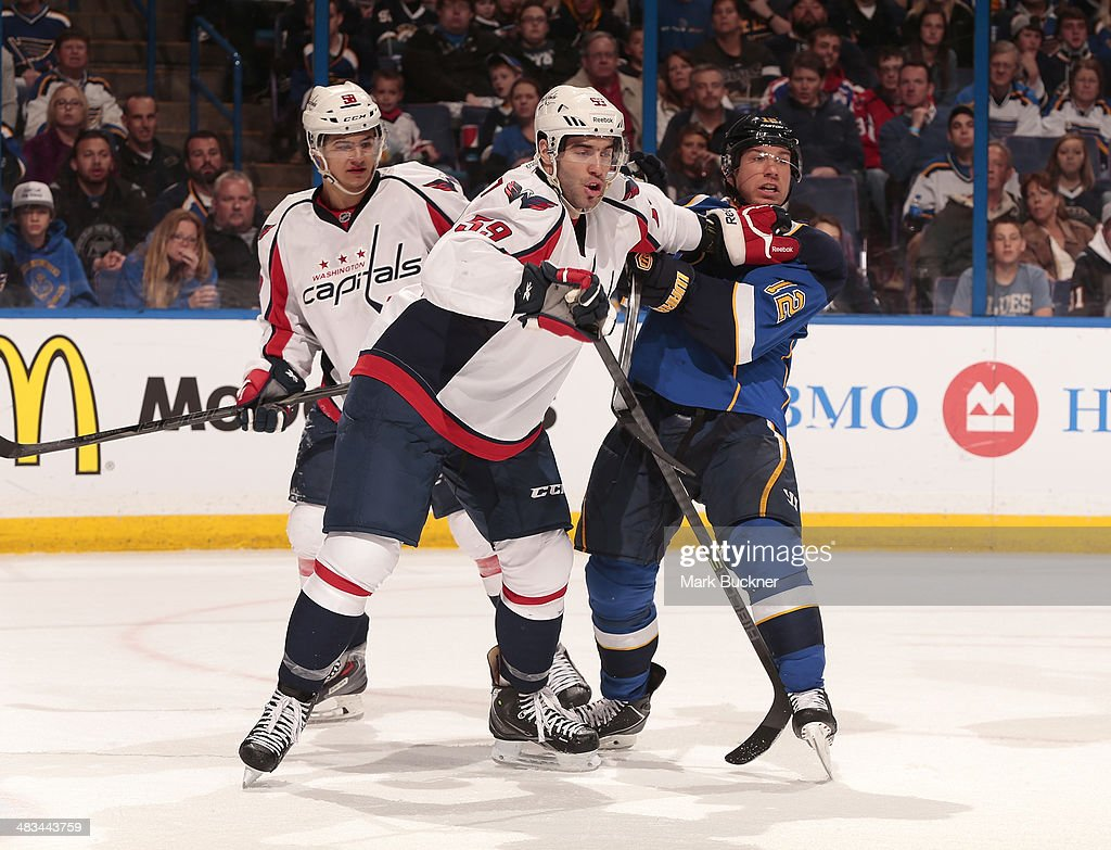 Julien Brouillette #59 of the Washington Capitals defends against <a gi-track='captionPersonalityLinkClicked' href=/galleries/search?phrase=Derek+Roy&family=editorial&specificpeople=203272 ng-click='$event.stopPropagation()'>Derek Roy</a> #12 of the St. Louis Blues during an NHL game on April 8, 2014 at Scottrade Center in St. Louis, Missouri.