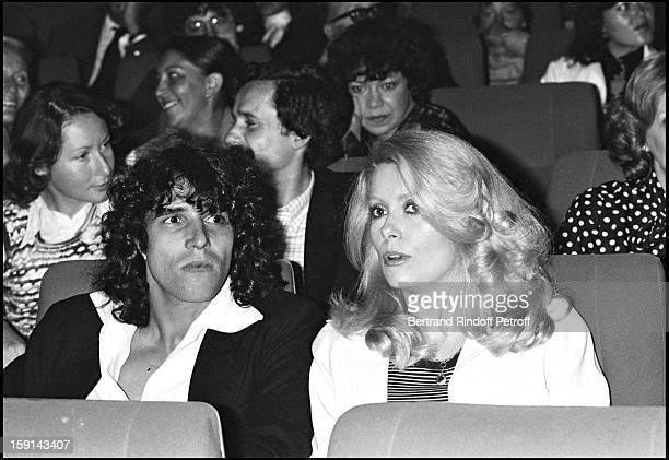Julien Clerc and Catherine Deneuve attend the premiere of Robert Charlebois show at Palais Des Congres venue in Paris in 1979