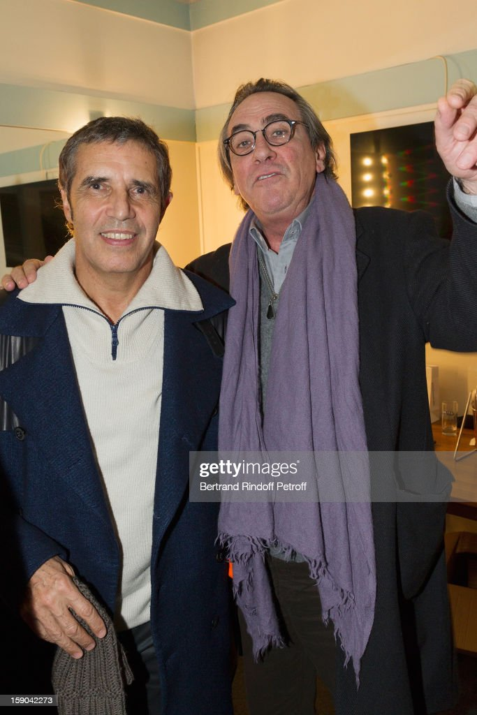 <a gi-track='captionPersonalityLinkClicked' href=/galleries/search?phrase=Julien+Clerc&family=editorial&specificpeople=1018020 ng-click='$event.stopPropagation()'>Julien Clerc</a> (L) and Philippe Lavil pose after attending the show of French impersonator Laurent Gerra at Olympia hall on January 5, 2013 in Paris, France.