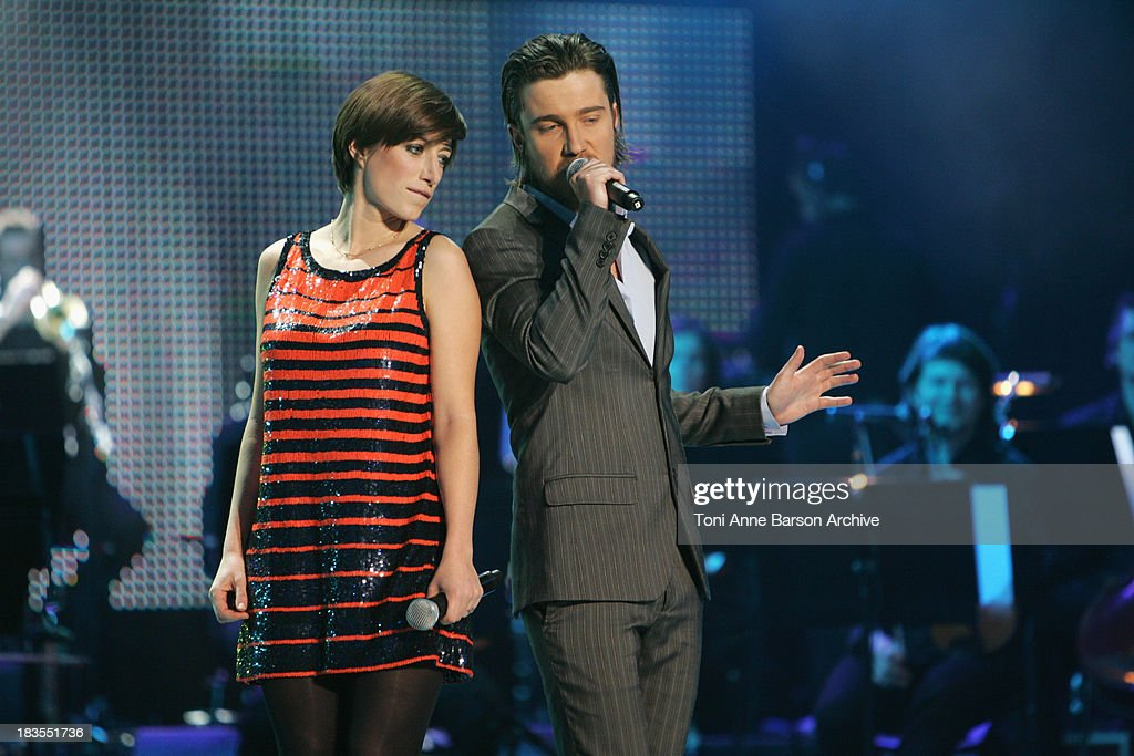 Julien Dore and Anais perform at the Fete de la Chanson Francaise for France Television in Salle Pleyel on January 19, 2009 in Paris, France.
