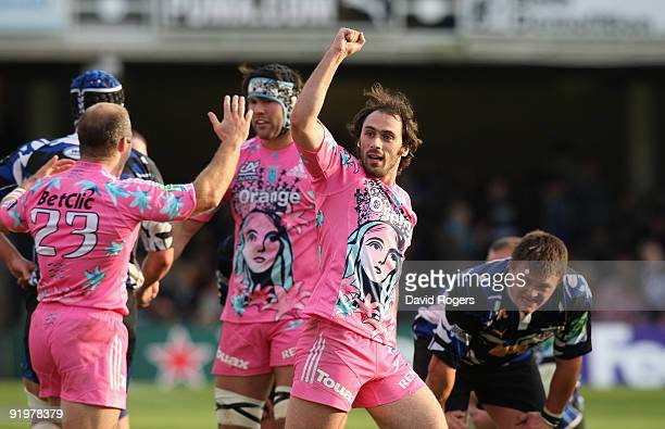 Julien Dupuy of Stade Francais who scored a last minute winning penalty celebrates the final whistle during the Heineken Cup match between Bath and...