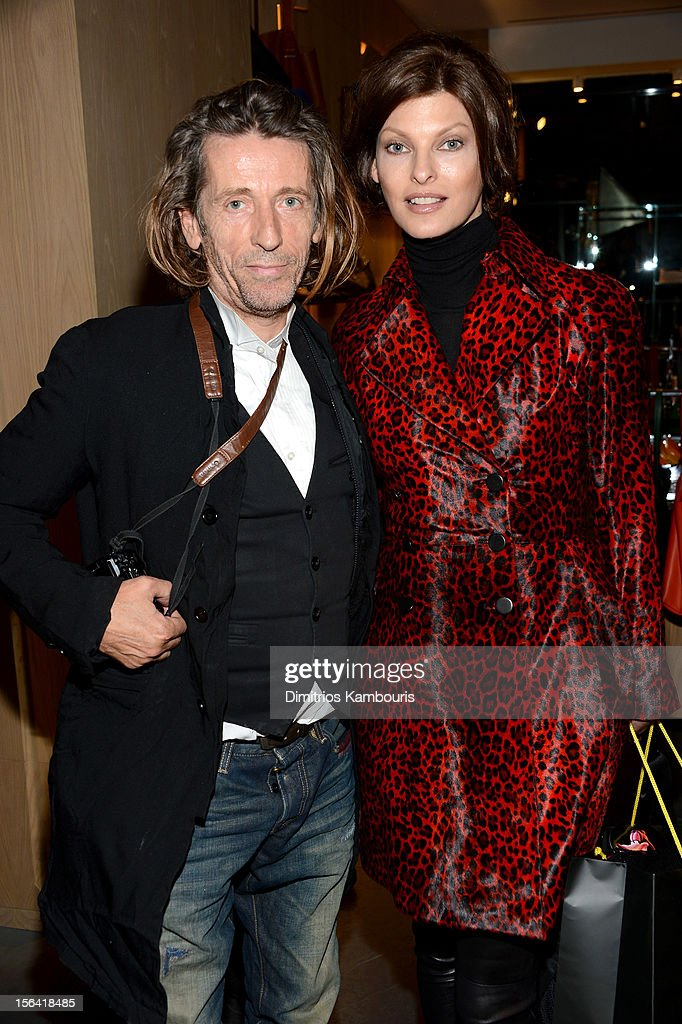 Julien d'Ys and <a gi-track='captionPersonalityLinkClicked' href=/galleries/search?phrase=Linda+Evangelista&family=editorial&specificpeople=203121 ng-click='$event.stopPropagation()'>Linda Evangelista</a> attend Barneys New York And Disney Electric Holiday Window Unveiling Hosted By Sarah Jessica Parker, Bob Iger, And Mark Lee on November 14, 2012 in New York City.