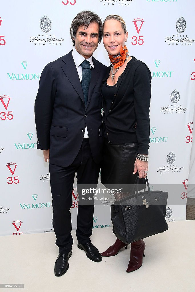 Julien Farel and Suelyn Farel attend the V35 Valmont SPA Launch Event at Plaza Athenee on January 30, 2013 in New York City.