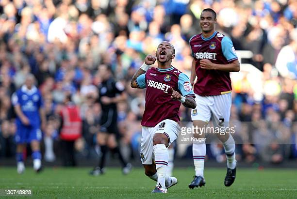 Julien Faubert of West Ham celebrates his goal during the npower Championship match between West Ham United and Leicester City at The Boleyn Ground...
