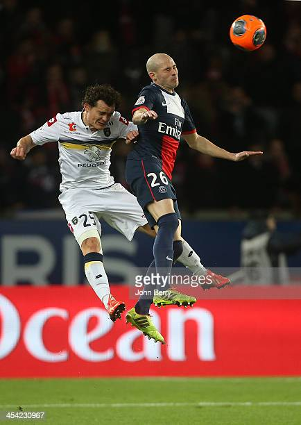 Julien Faussurier of Sochaux and Christophe Jallet of PSG in action during the french Ligue 1 match between Paris SaintGermain FC and FC Sochaux...