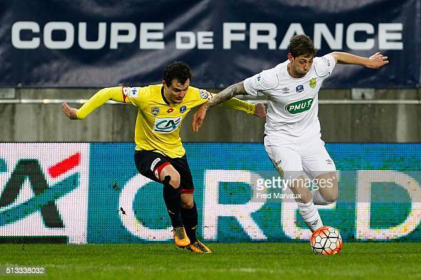 Julien Faussurier of Sochaux and Emiliano Sala of Nantes during the French Cup game between FC Sochaux V Nantes at Stade Auguste Bonal on March 2...