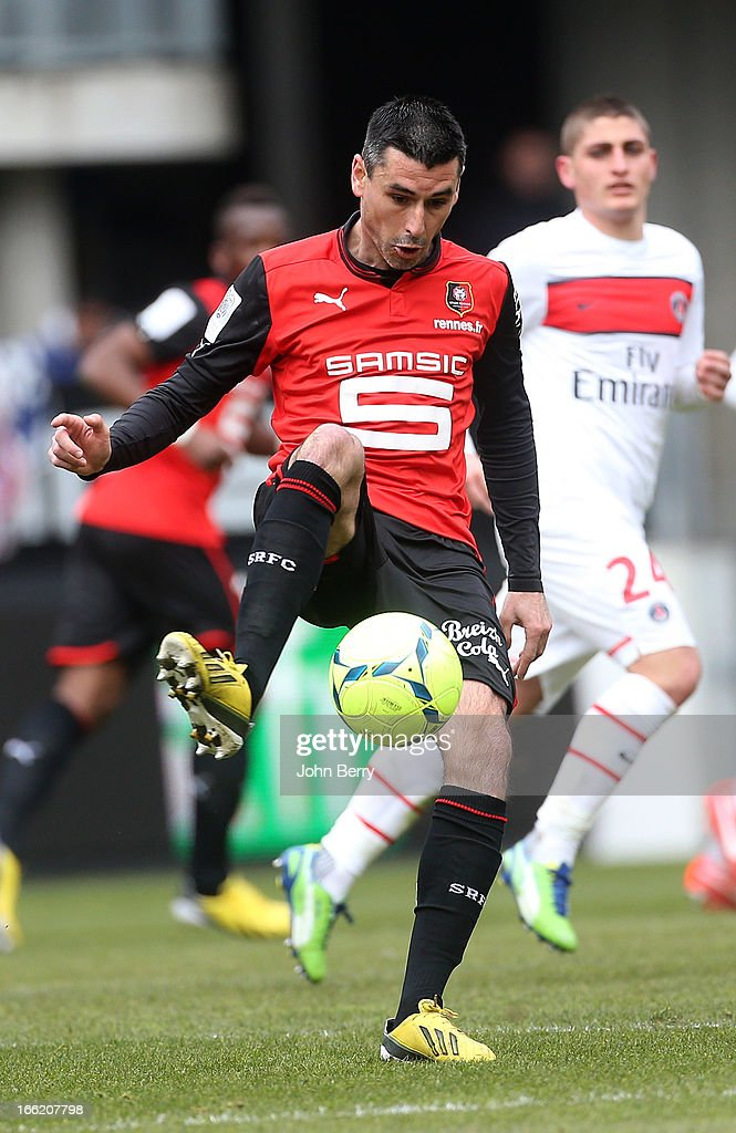 Julien Feret of Rennes in action during the Ligue 1 match between Stade Rennais and Paris SaintGermain FC at the Stade de la Route de Lorient on...
