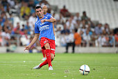 Julien Feret of SM Caen in action during the French Ligue 1 match between Olympique de Marseille and SM Caen at Stade Velodrome on August 8 2015 in...