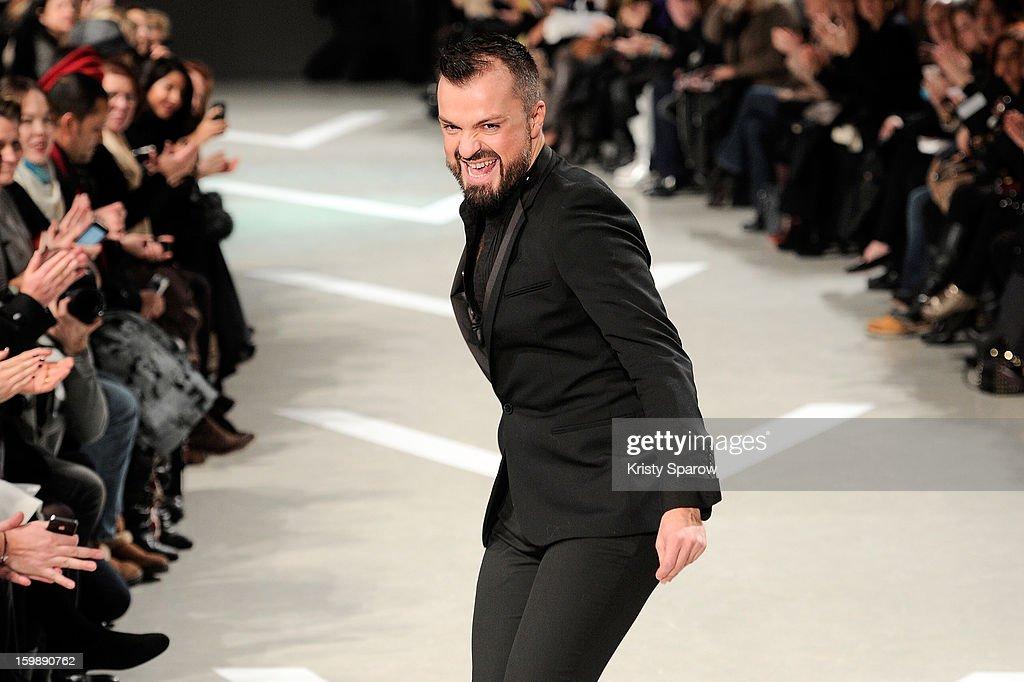 Julien Fournie acknowledges the public following the Julien Fournie Spring/Summer 2013 Haute-Couture show as part of Paris Fashion Week at Cite de l'Architecture et du Patrimoine on January 22, 2013 in Paris, France.