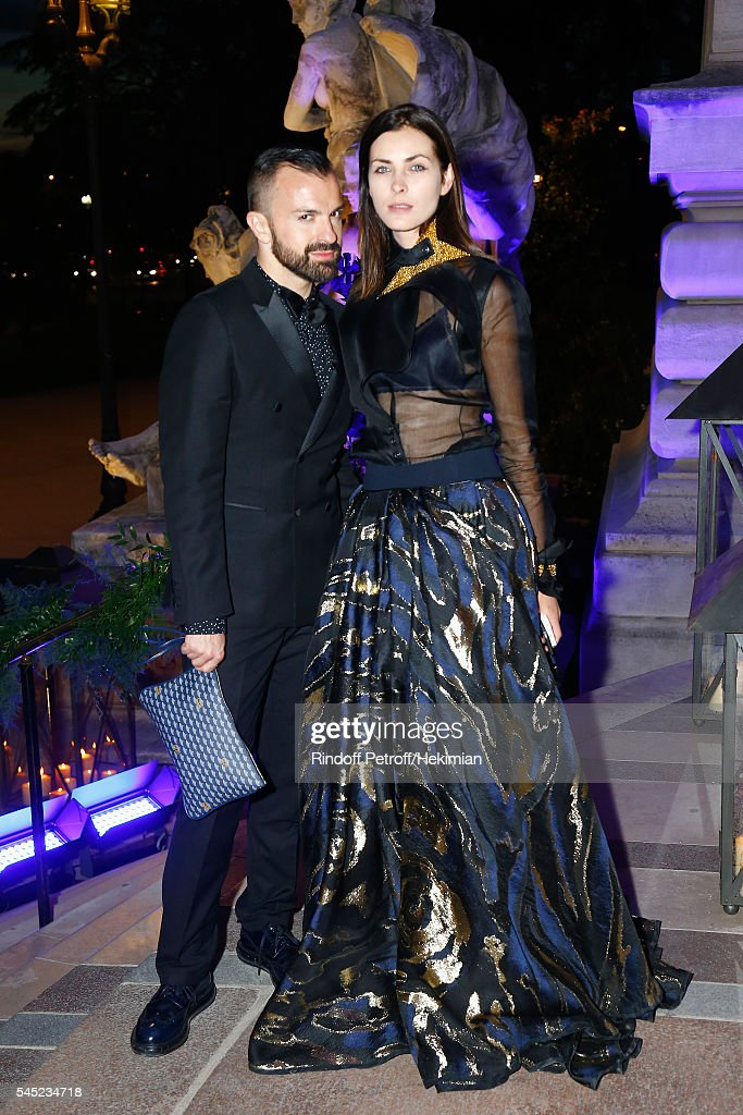 Julien Fournie and a guest attend the Soiree Haute Couture as part of Paris Fashion Week at Le Petit Palais on July 6 2016 in Paris France