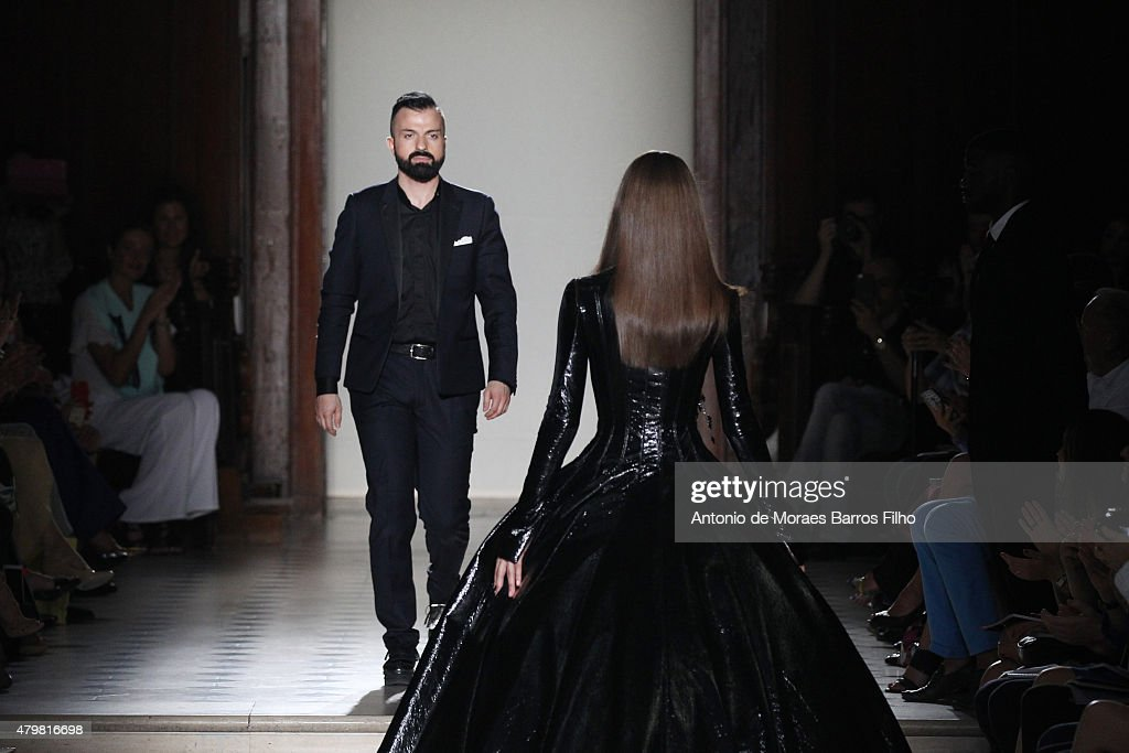 Julien Fournie walks the runway during the Julien Fournie show as part of Paris Fashion Week Haute Couture Fall/Winter 2015/2016 on July 7 2015 in...