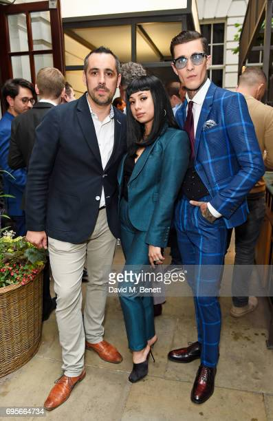Julien Foussadier Jet Luna and Jimmy Q attend the GQ Bar popup launch party at the Rosewood London on June 13 2017 in London England