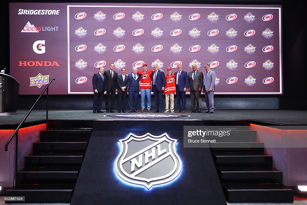 <a gi-track='captionPersonalityLinkClicked' href=/galleries/search?phrase=Julien+Gauthier&family=editorial&specificpeople=12515563 ng-click='$event.stopPropagation()'>Julien Gauthier</a> celebrates with the Carolina Hurricanes after being selected 21st during round one of the 2016 NHL Draft on June 24, 2016 in Buffalo, New York.