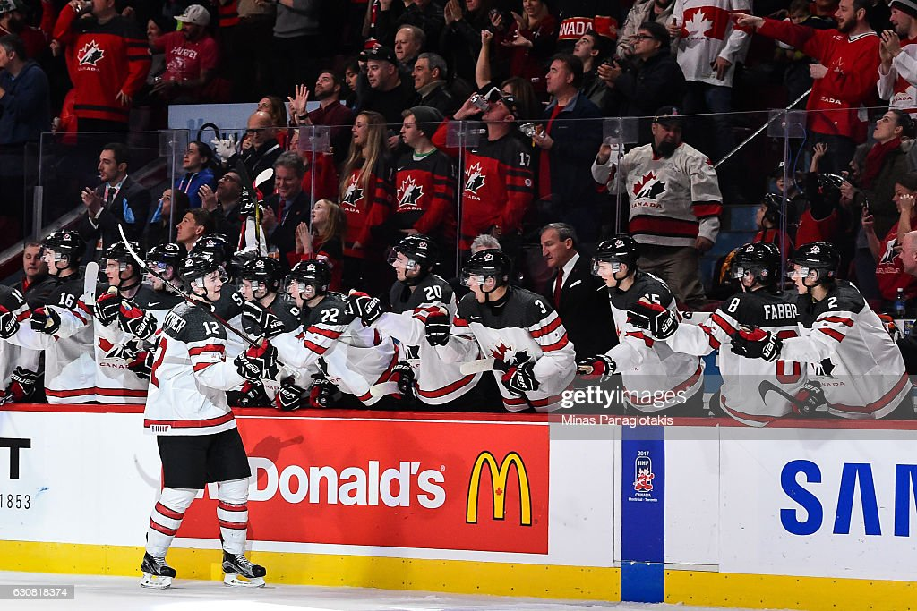 Julien Gauthier #12 of Team Canada celebrates a third period goal with teammates on the bench during the 2017 IIHF World Junior Championship quarterfinal game against Team Czech Republic at the Bell Centre on January 2, 2017 in Montreal, Quebec, Canada. Team Canada defeated Team Czech Republic 5-3.