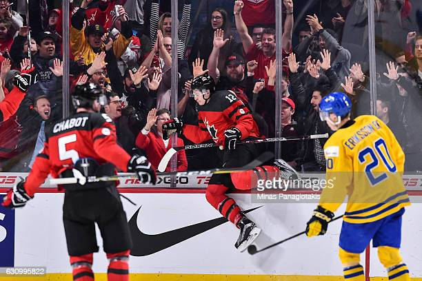 Julien Gauthier of Team Canada celebrates his third period goal during the 2017 IIHF World Junior Championship semifinal game against Team Sweden at...