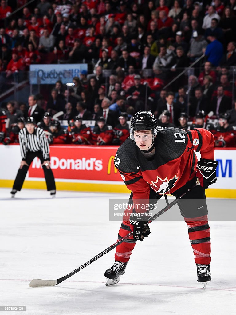 Julien Gauthier #12 of Team Canada looks on prior to a face-off during the 2017 IIHF World Junior Championship gold medal game against Team United States at the Bell Centre on January 5, 2017 in Montreal, Quebec, Canada. Team United States defeated Team Canada 5-4 in a shootout and win the gold medal round.
