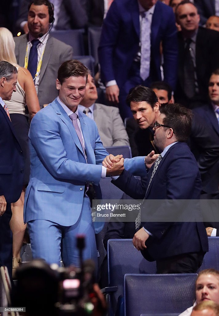 <a gi-track='captionPersonalityLinkClicked' href=/galleries/search?phrase=Julien+Gauthier&family=editorial&specificpeople=12515563 ng-click='$event.stopPropagation()'>Julien Gauthier</a> reacts after being selected 21st by the Carolina Hurricanes during round one of the 2016 NHL Draft on June 24, 2016 in Buffalo, New York.