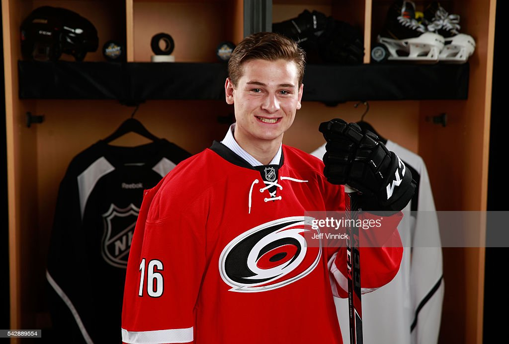 <a gi-track='captionPersonalityLinkClicked' href=/galleries/search?phrase=Julien+Gauthier&family=editorial&specificpeople=12515563 ng-click='$event.stopPropagation()'>Julien Gauthier</a>, selected 21st overall by the Carolina Hurricanes, poses for a portrait during round one of the 2016 NHL Draft at First Niagara Center on June 24, 2016 in Buffalo, New York.
