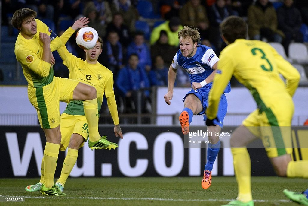 Julien Gorius of KRC Genk during the UEFA Europa League Round of 32 second leg match between KRC Genk and FC Anji Makhachkala at the Cristal Arena...