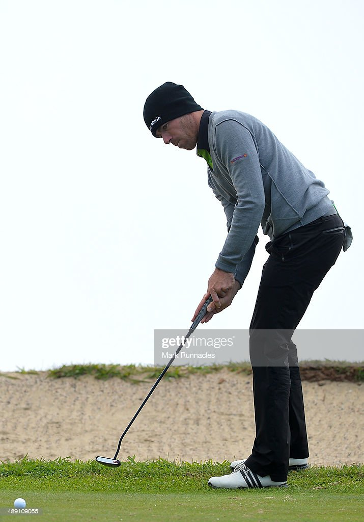 Julien Guerrier of France putting on the 4th green during the Madeira Islands Open - Portugal - BPI at Club de Golf do Santo da Serra on May 10, 2014 in Funchal, Madeira, Port gal.