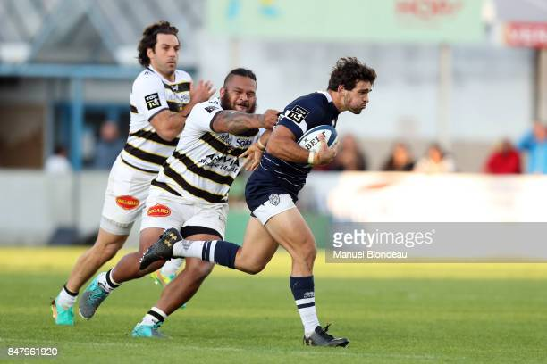 Julien Heriteau of Agen and Vincent Pelo of La Rochelle during the Top 14 match between SU Agen and Stade Rochelais at on September 16 2017 in Agen...