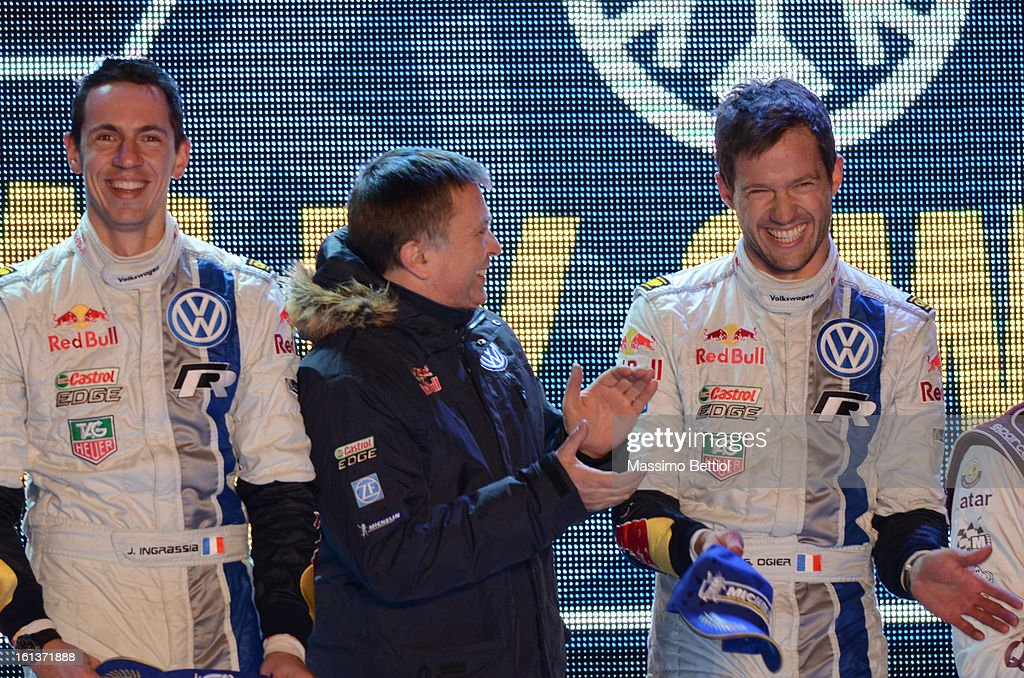 <a gi-track='captionPersonalityLinkClicked' href=/galleries/search?phrase=Julien+Ingrassia&family=editorial&specificpeople=4947850 ng-click='$event.stopPropagation()'>Julien Ingrassia</a> of France with Jost Capito Team Principal of the Volkswagen Motorsport WRT and <a gi-track='captionPersonalityLinkClicked' href=/galleries/search?phrase=Sebastien+Ogier&family=editorial&specificpeople=4946813 ng-click='$event.stopPropagation()'>Sebastien Ogier</a> of France celebrate the success in the final podium during Day Three of the WRC Sweden on February 10 , 2013 in Karlstad , Sweden.