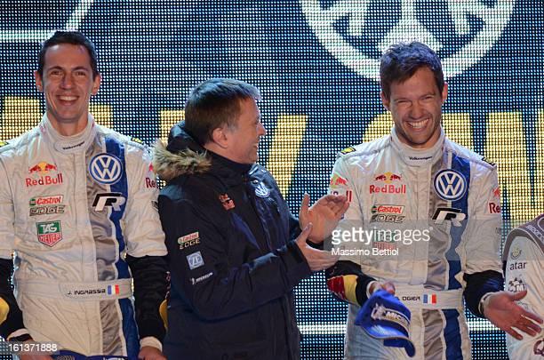 Julien Ingrassia of France with Jost Capito Team Principal of the Volkswagen Motorsport WRT and Sebastien Ogier of France celebrate the success in...