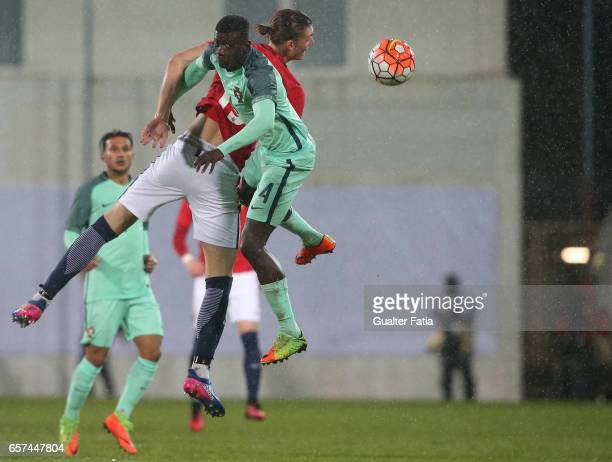 Julien Kristoffersen of Norway with Portugal defender Edgar Ie in action during the U21 International Friendly match between Portugal and Norway at...