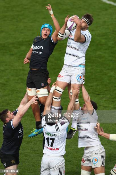 Julien Le Devedec of Brive wins a lineout from Charlie Ewels of Bath during the European Rugby Challenge Cup Quarter Final match between Bath Rugby...