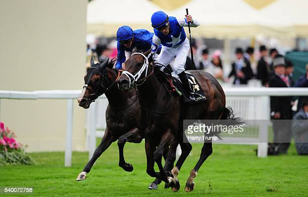 Julien Leparoux celebrates on board Tepin after winning the Queen Anne Stakes during Day One of Royal Ascot 2016 at Ascot Racecourse on June 14 2016...