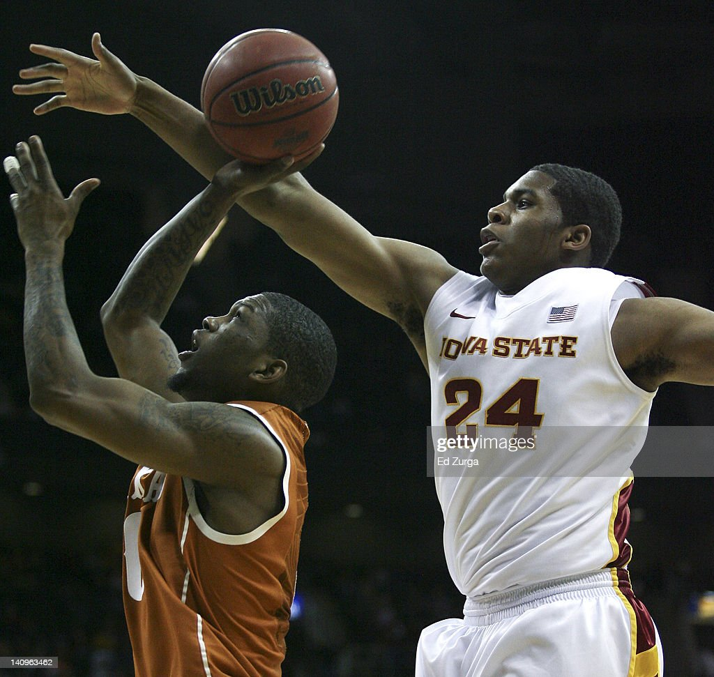 Julien Lewis #0 of the Texas Longhorns shoots against Percy Gibson #24 of the Iowa State Cyclones during the quarterfinals of the Big 12 Basketball Tournament March 8, 2012 at Sprint Center in Kansas City, Missouri. Texas won 71-65.
