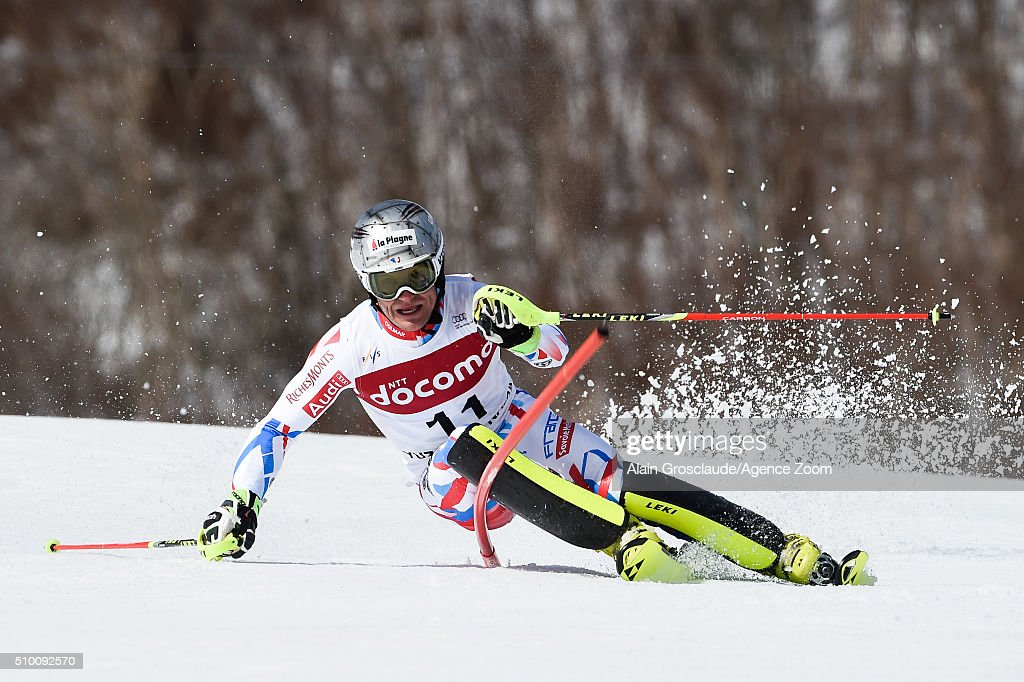 Julien Lizeroux of France competes during the Audi FIS Alpine Ski World Cup Men's Slalom on February 14, 2016 in Naeba, Japan.