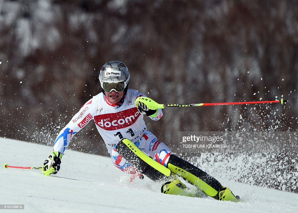 Julien Lizeroux of France skies down the course during the FIS Ski World Cup 2015/2016 men's slalom competition second run at the Naeba ski resort in Yuzawa town, Niigata prefecture on February 14, 2016. AFP PHOTO / TOSHIFUMI KITAMURA / AFP / TOSHIFUMI KITAMURA