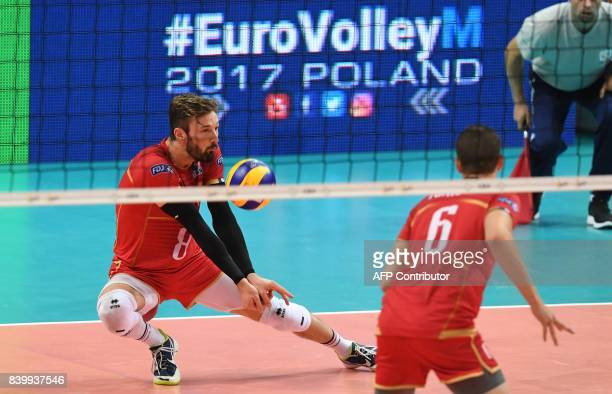 Julien Lyneel of France plays the ball during the group D match between France and Netherlands of the 2017 CEV Men's Volleyball European Championship...