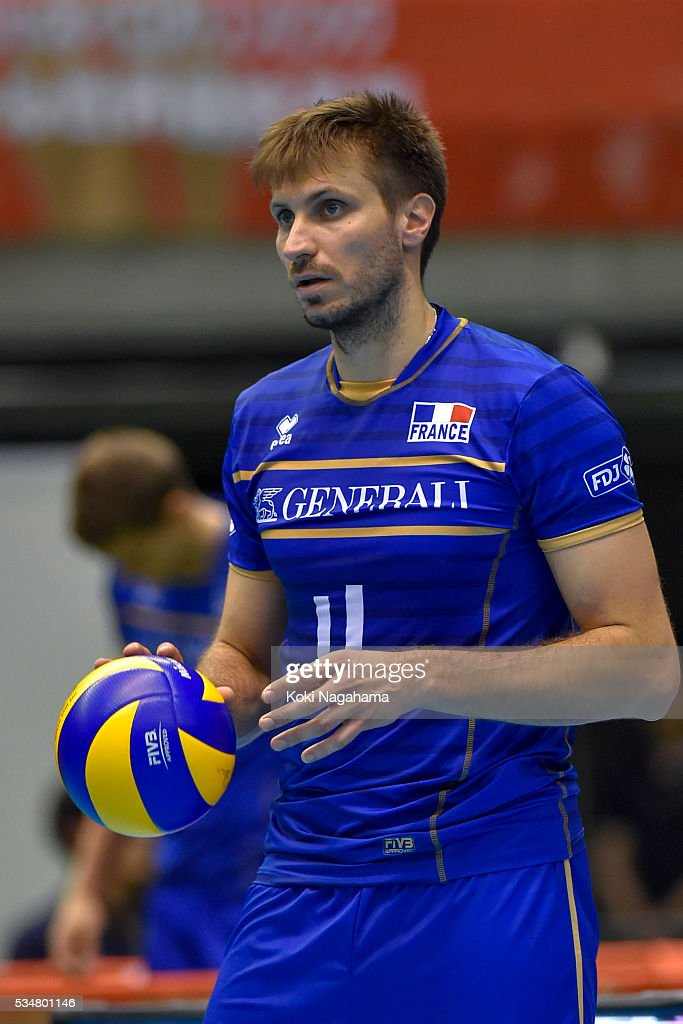 Julien Lyneel #11 of Franceserves the ball during the Men's World Olympic Qualification game between China and France at Tokyo Metropolitan Gymnasium on May 28, 2016 in Tokyo, Japan.