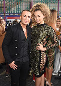 Julien MacDonald and Ella Eyre attend the Julien MacDonald Spring/Summer 2016 Collection during London Fashion Week at Smithfields Market on...