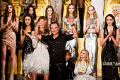 Julien Macdonald walks the runway at the Julien Macdonald show during London Fashion Week Autumn/Winter 2016/17 at One Mayfair on February 20 2016 in...