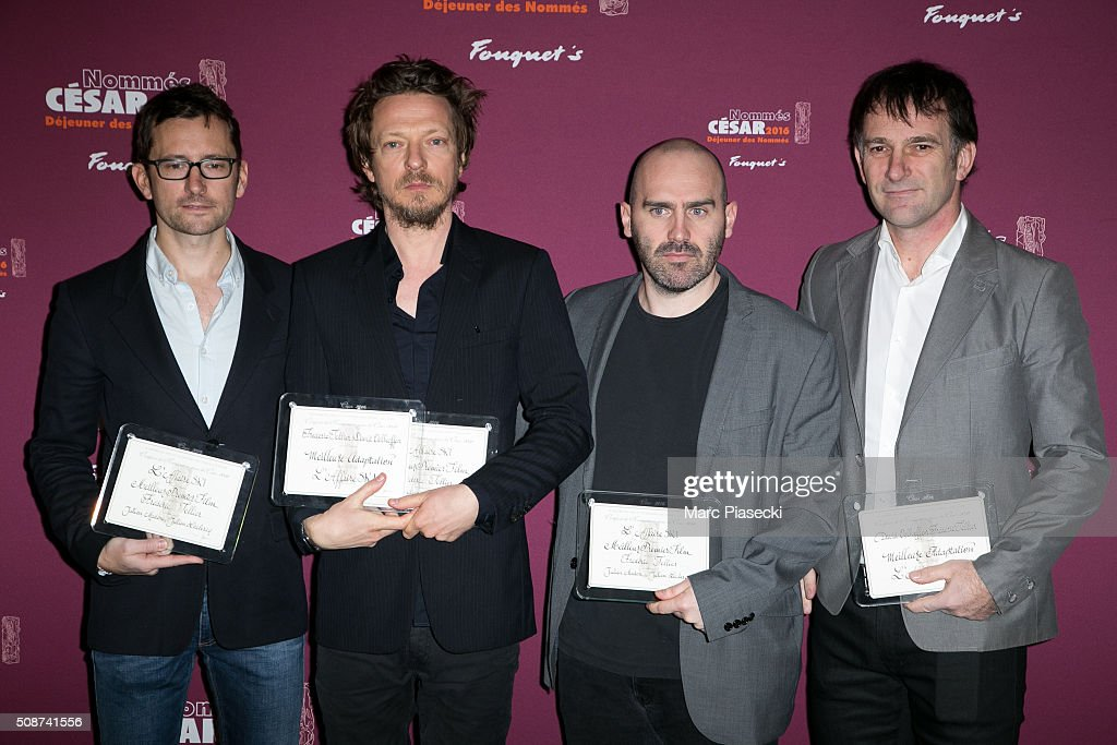 Julien Madon, Frederic Tellier, Julien Leclercq and guest attend the 'Cesar 2016- Nominee luncheon' at Le Fouquet's on February 6, 2016 in Paris, France.