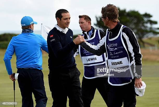 Julien Quesne of France celebrates after first round match against Tom Lewis of England in the Saltire Energy Paul Lawrie Matchplay at Murcar Links...